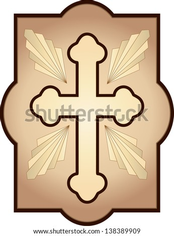 Christian Cross  with rays and frame - stock vector