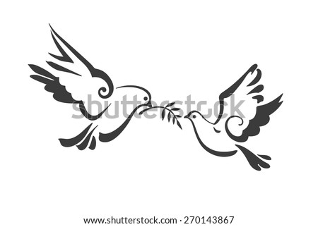Christian Dove Symbols Peace Isolated On Stock Vector 2018