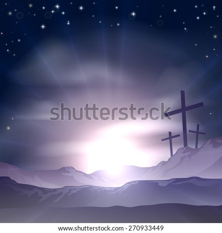 Christian Easter concept of three crosses on a hill - stock vector