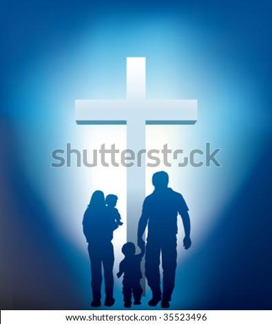 christian family walking towards a cross - stock vector