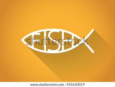 Christian fish. Fish symbol in a flat design, illustration. - stock vector - stock vector