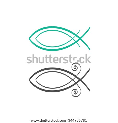 Christian fish symbol, abstract logo concept, fresh sea food label idea, Jesus fish icon isolated on white background vector illustration, modern creative linear design sign badge, outline flat style. - stock vector