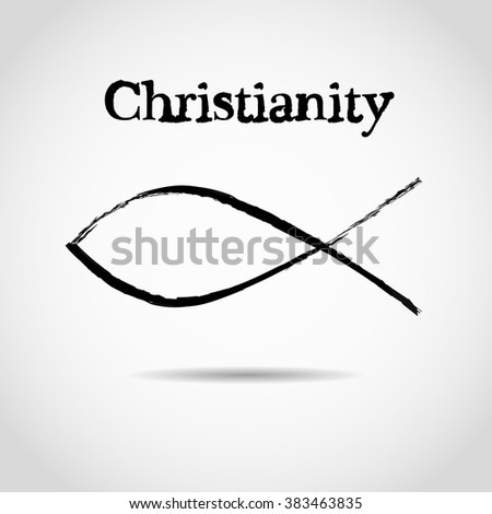 christian fish symbol. logo - stock vector