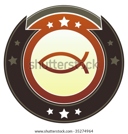 Christian Jesus fish icon on round red and brown imperial vector button with star accents suitable for use on website, in print and promotional materials, and for advertising.