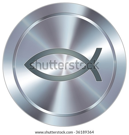 Christian Jesus fish icon on round stainless steel modern industrial button - stock vector