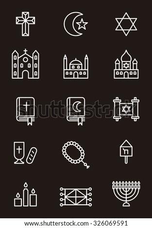 Christian, Jewish & Muslim religion icons - stock vector