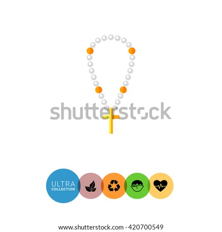 Christian pearl beads with cross flat icon - stock vector