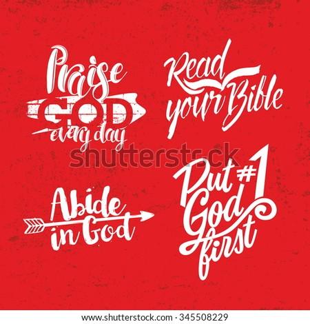 Christian phrase. Lettering. - stock vector