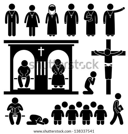 Christian Religion Culture Tradition Church Prayer Priest Pastor Nun Stick Figure Pictogram Icon - stock vector