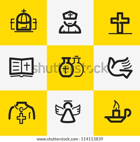 Christian Religion Icons - stock vector