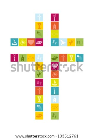Christian religion symbols colorful - stock vector