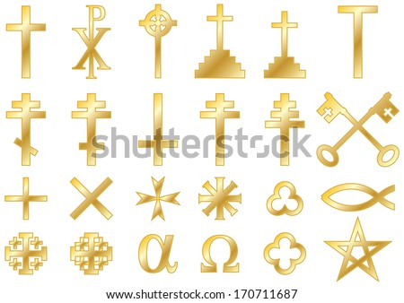 Christian Religious Symbols Cast Gold Collection Stock Vector