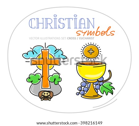 Christian sacred symbols - Holy Cross and Eucharistic chalice with grapes and bread (hostia). Vector illustration. - stock vector