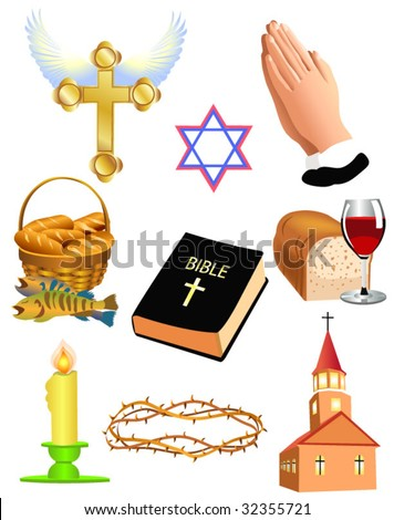 christian set - stock vector