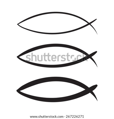 Christian sketch Fish Symbol. vector hand drawn on a white background - stock vector