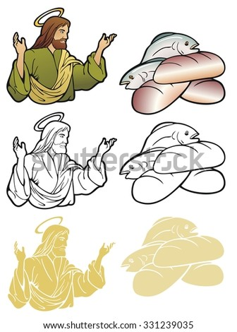 Christian spot illustrations, Jesus teaching, loves and fishes. In full color, black outline, and reverse for printing on dark backgrounds.