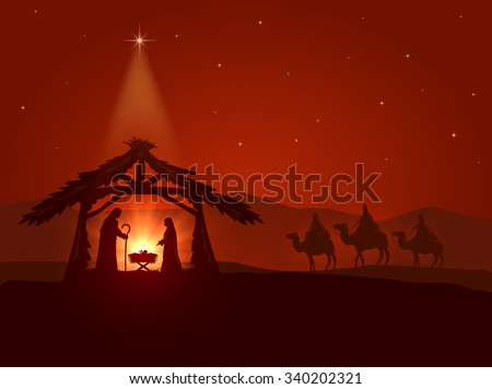 Christian theme, Christmas star and the birth of Jesus, illustration. - stock vector