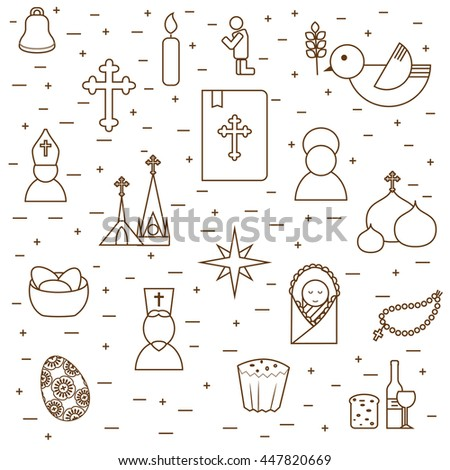 Christianity background from outline pictograms. Christianity symbols design in modern outline style. Can be used for religion purpose as site backdrop, cards cover etc. - stock vector