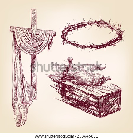christianity collection isolated hand drawn vector llustration - stock vector