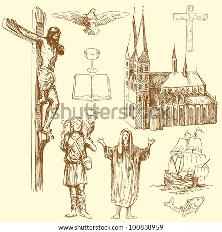 christianity - hand drawn set - stock vector