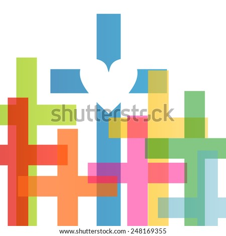Christianity religion cross heart concept abstract background vector illustration - stock vector
