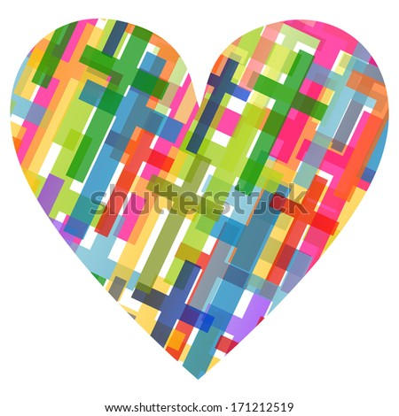 Christianity religion cross heart shape mosaic concept abstract background vector illustration - stock vector