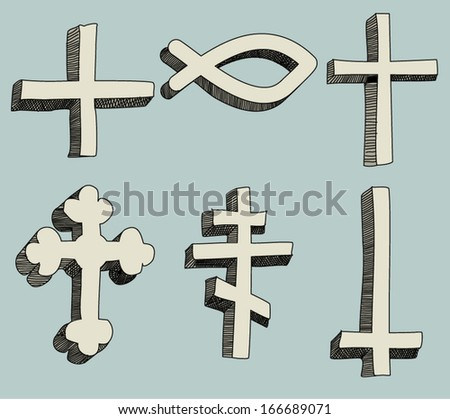 Christianity religious crosses icons Doodle vector Illustration