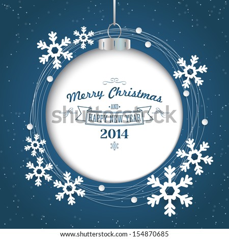 Christmas abstract background with ornament ball and snowflakes. Vector illustration - stock vector