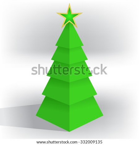Christmas abstraction unusual stylish cubic three-dimensional vector ?hristmas tree with a star - stock vector