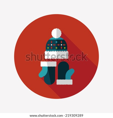 Christmas accessories flat icon with long shadow,eps10 - stock vector