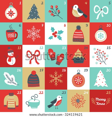 Christmas Advent Calendar with bird, branches, Christmas balls, bow, cup of tea, woolen hat, mittens, cupcake, fir branch, sweater, poinsettia, fir tree, snowman, flower and snowflakes - stock vector