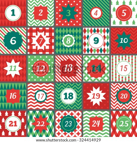 Christmas advent calendar with geometric seamless patterns in Red, Green and White. Chevron, Polka dot, Gingham, Argyle, Harlequin, Fir Trees, Triangles, Diagonal Stripes, Diamonds, Plaid - stock vector