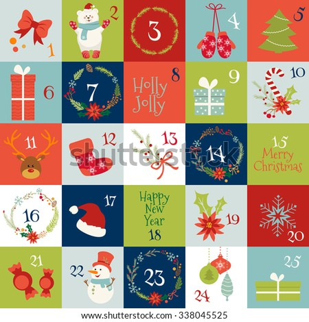 Christmas advent calendar with Winter Holiday Elements in Red, Green, White and Blue. Snowman, Snowflake, deer, mittens, sock, wreath, tree, greetings, gifts, candies. - stock vector