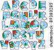 Christmas alphabet - stock vector