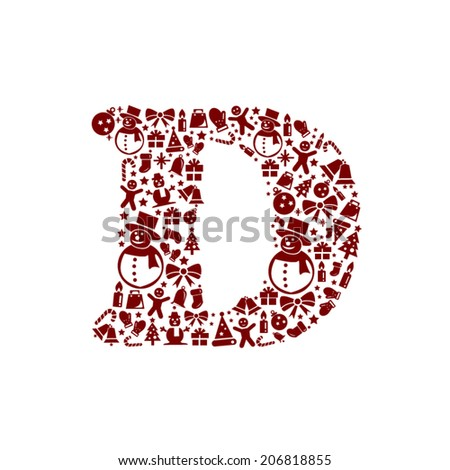 Christmas alphabet D on White Background - stock vector
