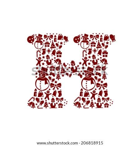 Christmas alphabet H on White Background - stock vector