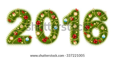 Christmas 2016 Alphabet Number Vector Illustration EPS10 - stock vector