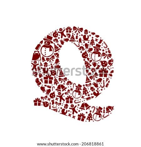 Christmas alphabet Q on White Background - stock vector