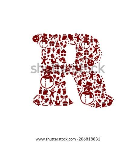 Christmas alphabet R on White Background - stock vector
