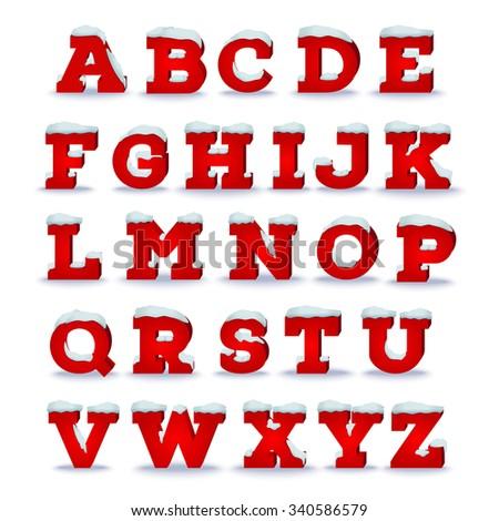 Christmas alphabet with snow cap effect. EPS 10 vector illustration, transparent shadow - stock vector