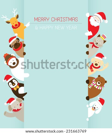 Christmas and Animals with Copy Space - stock vector