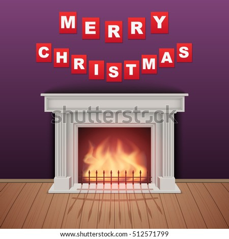 Christmas and Fireplace in cozy room. Realistic style design. Vector Illustration.