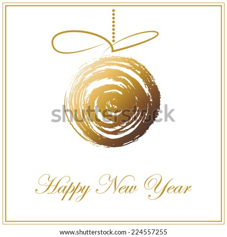 Christmas and Happy New year background. Holiday card with gold abstract ball isolated on white background.Christmas and New year frame.Vector illustration - stock vector