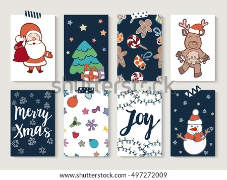 Christmas and Happy new year cards set. Set of greeting cards for winter holidays. Vector doodle hand drawn illustrations.
