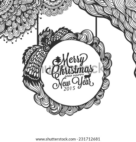 Christmas  and happy new year doodle sketch  with typography - stock vector