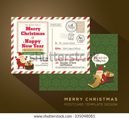 Christmas and Happy New year holiday airmail postcard background vector for party invitation card - stock vector