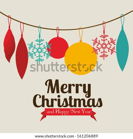 christmas and happy new year  over beige   background vector illustration - stock vector