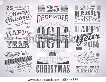 Christmas and Happy New Year typography, labels,calligraphic elements. Christmas decoration/ new year vector - stock vector