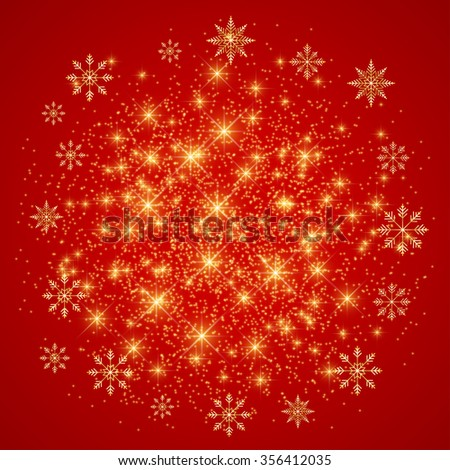 Christmas and Happy New Years on the red background  with golden snowflakes . Vector illustration. - stock vector