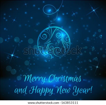 Christmas and New Year background with abstract christmas bauble - stock vector